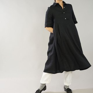 Linen Horizontal color shirt One-piece string / Black a64-9