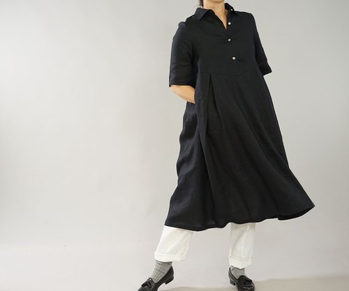 Linen Horizontal color shirt One-piece string / Black a 64 - 9