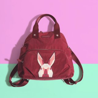Khieng Atelier Diamond Rabbit back shell diamond rabbit backpack - red maple leaf
