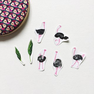 Ostrich stickers leaf hand-cut transparent sticker package a pack of 7 into