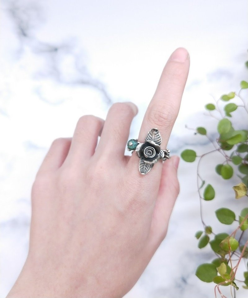 [Unique product] ring. 925 rose petals * turquoise sterling silver ring