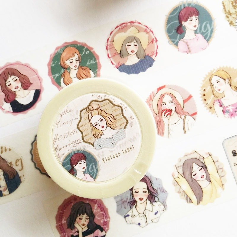 Retro badge girl paper tape 2.5cm