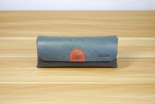 Universal bag leather hand sewn (gray green)