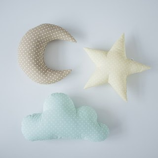 Set of 3! Pastel set cloud star moon shaped pillow - mint yellow cream nursery room decor