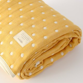 MARURU Luxurious Six-layer gauze baby blanket  (L) Yellow dot (Made in Japan)