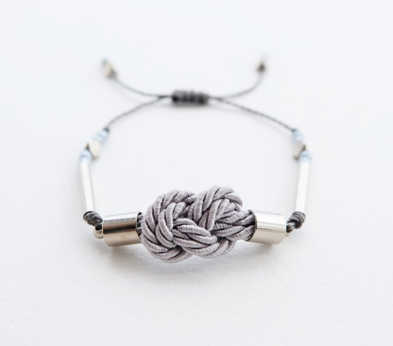 Infinity knot twisted rope in light gray adjustable bracelet