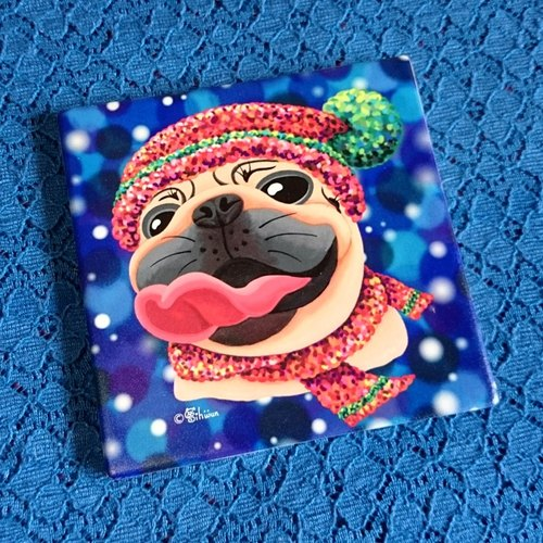 Pug ceramic absorbent coaster-Winter's Love