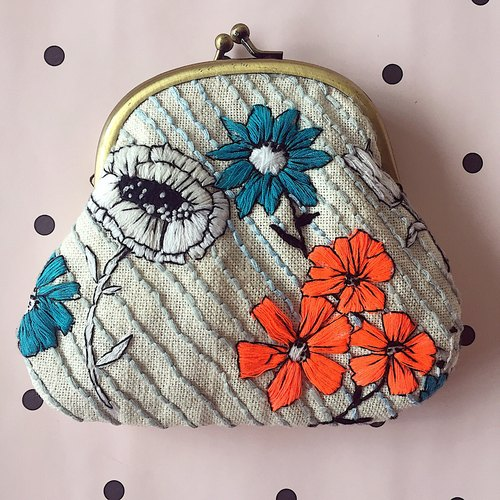 Summer Flowers Embroidered Purse - Electric Blue and Fluorescent Orange - Jane