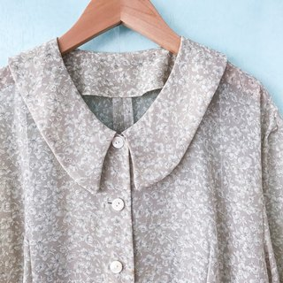 ... (Acorn Girl :: Ancient Pants) Beige Floral Brown Sleeve Shirt