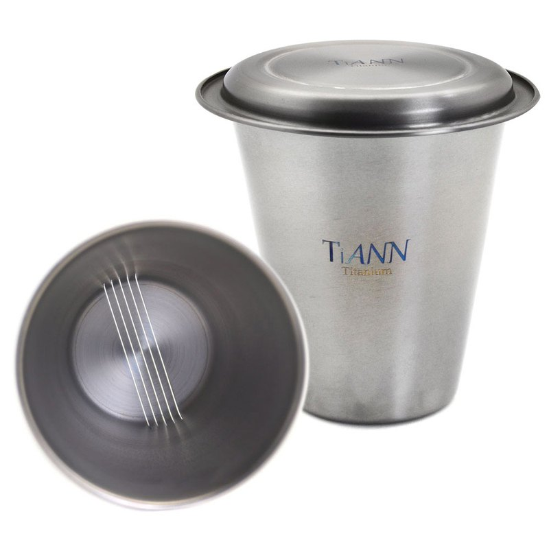 Pure titanium simple tea set (single layer filter cup + titanium lid)