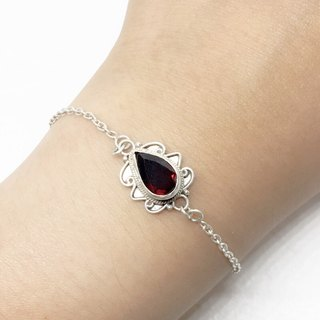Garnet 925 sterling silver exotic style bracelet Nepal handmade mosaic production