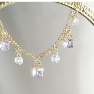 【14KGF Choker Necklace】-Gemstone,Dream Crystal,NY Herkimerdiamond x Rose Amethys