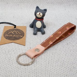 Cute Flower and Brown Polka Dot , 可愛的花和棕色圓點 Fabric wristlet Key Fob,Key Ring,Gift for Her Girl Women Friend ,Swivel lobster claw clasp Hook  鑰匙扣 ,キーチェーン ,키 체인