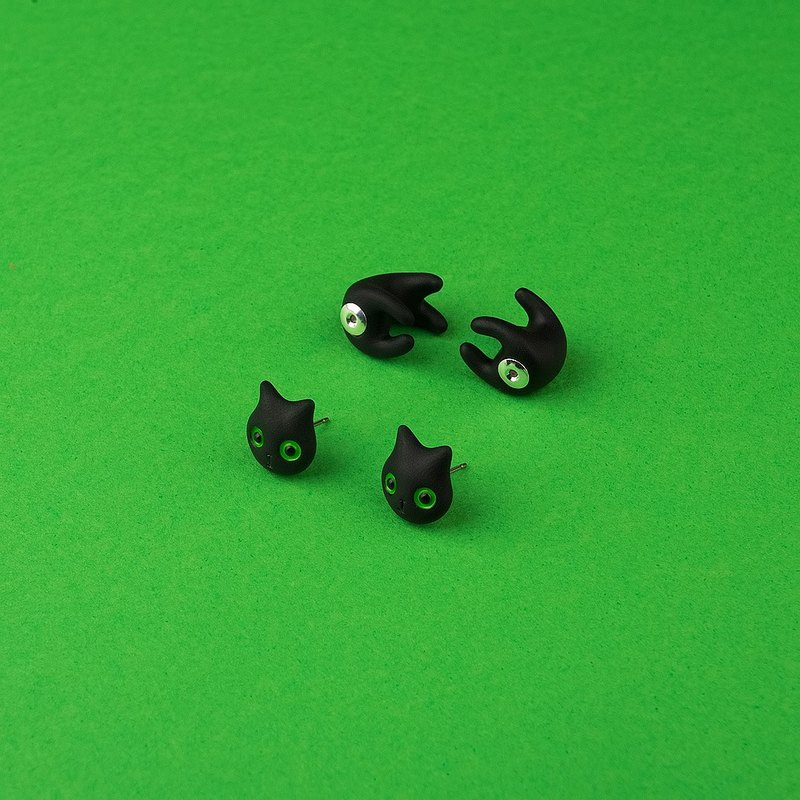 Handmade Black Cat - Green Eyes Earring | Titanium Hypoallergenic Posts |