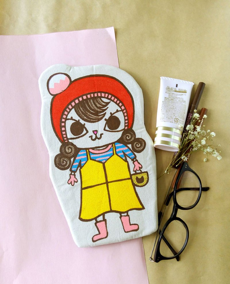 Handmade Hand paint casual Mei Mei Cat pencil case beauty bag storge bag