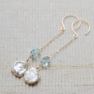 Petal poppy and aquamarine earrings 14 kgf