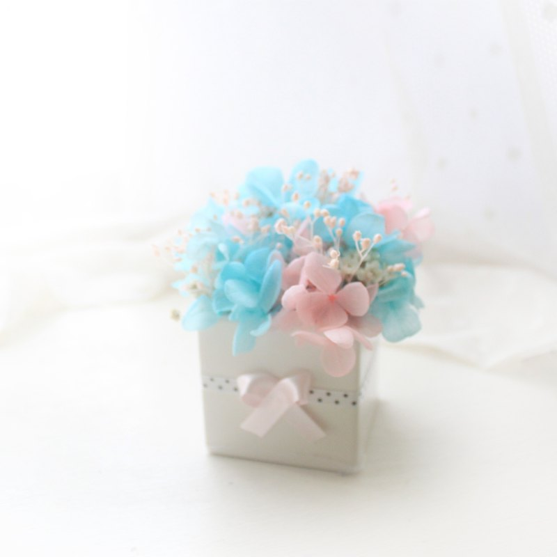 Happiness, sweet and fresh table flowers, light blue and light pink hydrangea, eternal flower ceremony