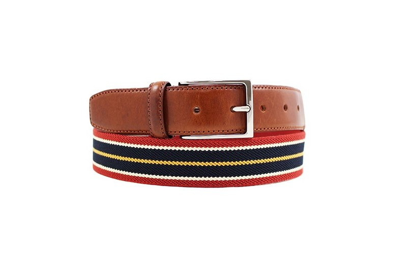LAPELI │ Belgian elastic fabric belt - mix and match striped red / dark blue
