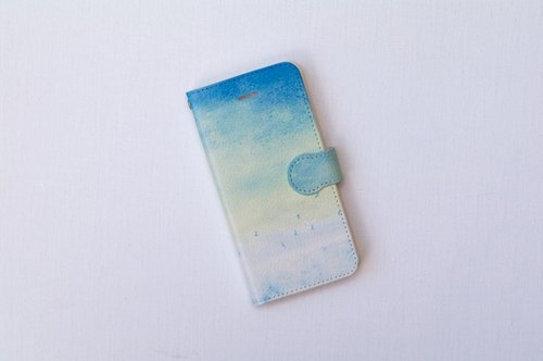"Orders production] pocketbook type iPhone case ""blue, sky."""