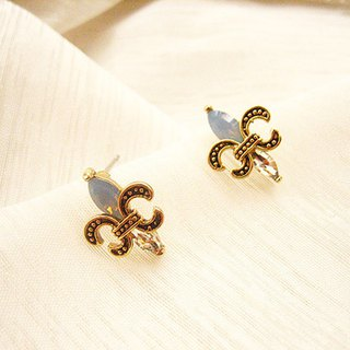 French Royal Lily Emblem - Iris Embossed Zircon Earrings