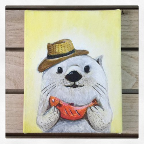 "Small frame of the original painting ""Mr. otters' mind 