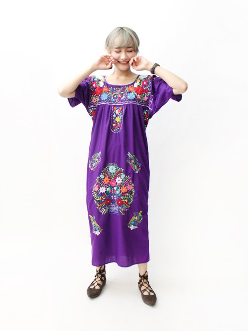 【RE0602MD045】 early summer flowers hand embroidery purple American Mexican embroidery ancient dress