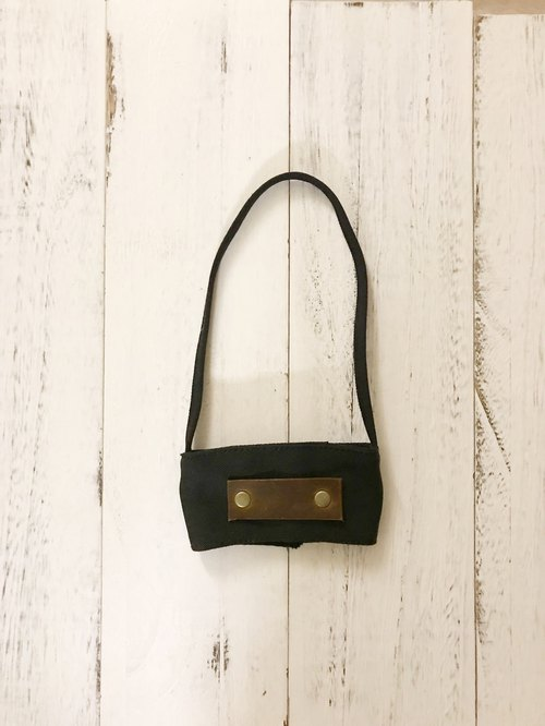 |Cup Drink Bag|Leather Label|Black|Plugable Straw