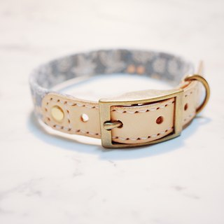 Dog collars, M size, Light & gray blue with little flowers print