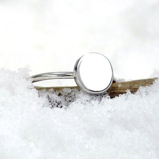 Small round series round silver ring (large) -64DEISGN