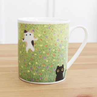 Bone China Mug - Mimi Garden (11/27 ~ 12/26 All the extra super-free shipping, spending $ 1500 free spending Christmas package Yo ~) / grass / cat / microwave / SGS