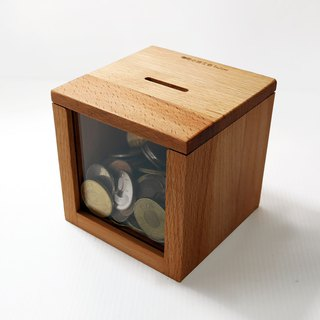 Money is rolling to save money, piggy bank, beech wood, small wood workshop, 10x10x10cm