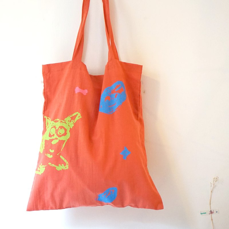 Yinke new hand-printed - orange puppy, hand-printed cotton and linen with Totten bags