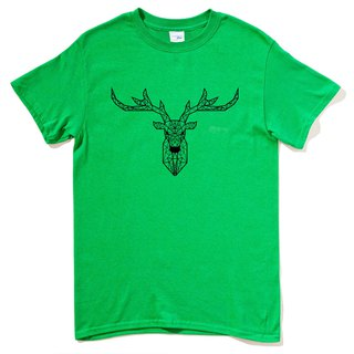 Deer Geometric Short Sleeve T-Shirt Green Geometry Deer Universe Design Brand Milky Way Trendy Round Triangle