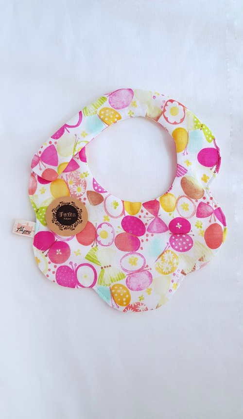 Candy butterfly - peach - eight layers of yarn 100% cotton double-sided modeling bibs