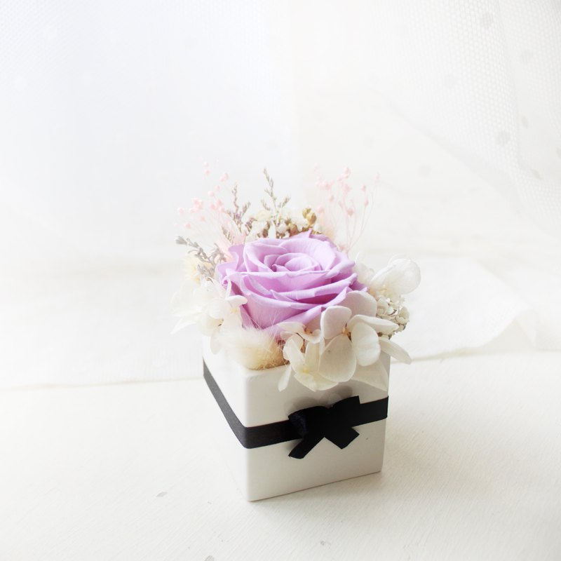 Elf Princess's Purple Box Small Table Flowers, Eternal Elegant Purple Rose Gift