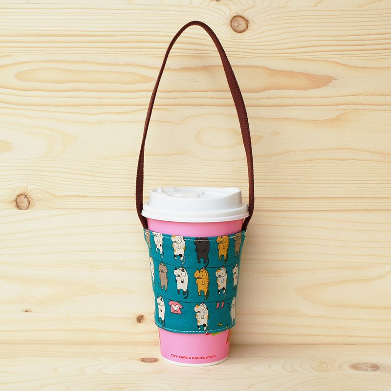 Tan cat drink bag _ blue / cup set