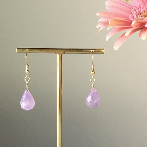 February birthstone 【large grain amethyst AA ++】 briolet cut, earring / earring