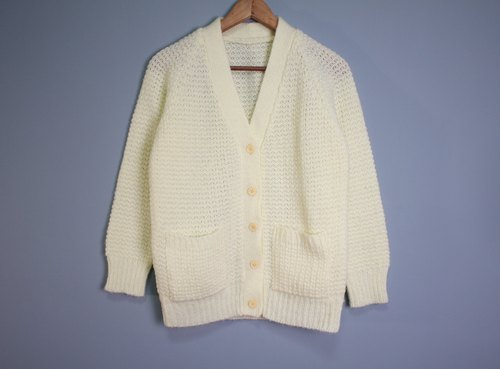 FOAK Vintage Northland Spring Light Yellow Sweater Coat