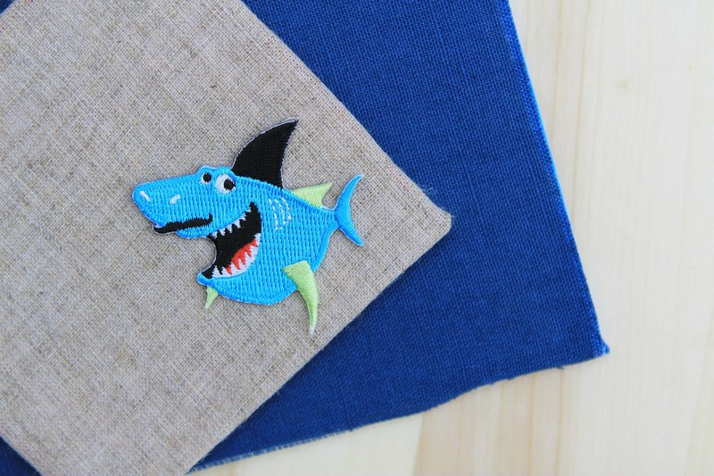 Gangster shark self-adhesive embroidered cloth stickers - Ocean Series