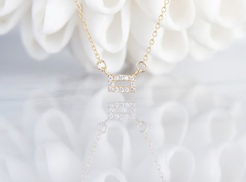 【14KGF】Necklace,Tiny CZ-Rectangle-