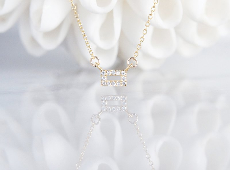 【14 KGF】 Necklace, Tiny CZ - Rectangle -