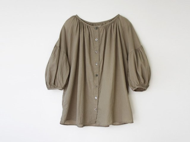 Mulberry leaf dyed khaki cotton dobby boil tunic 8712-03003-46