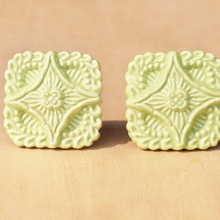 British creative gift retro hand-painted ceramic handle / ceramic doorknob / doorknob ceramic window - Romanesque square perspective Glyph Matcha cookies