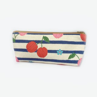 筆袋/化妝袋 Retro Pencil Case Makeup Bag Zip Pouch - Cherry Stripes