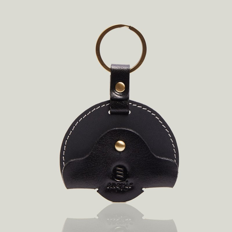 Cava slip - leather key ring / cord reel - black / dark gray ‧ wax leather