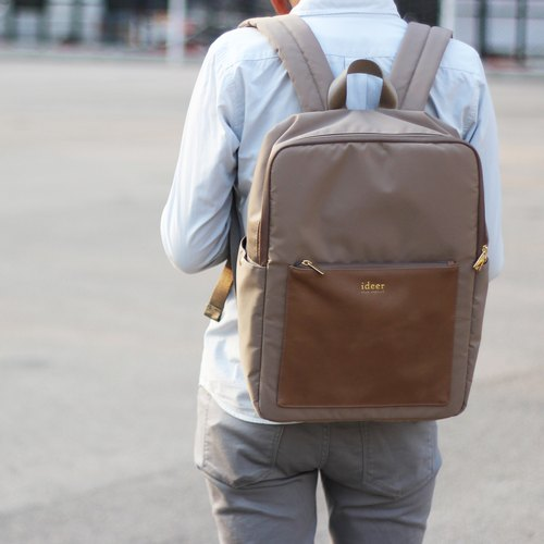 Limited Time Offer [new] Kendall Hazelnut Hazelnut color leather texture after water repellent nylon laptop backpack