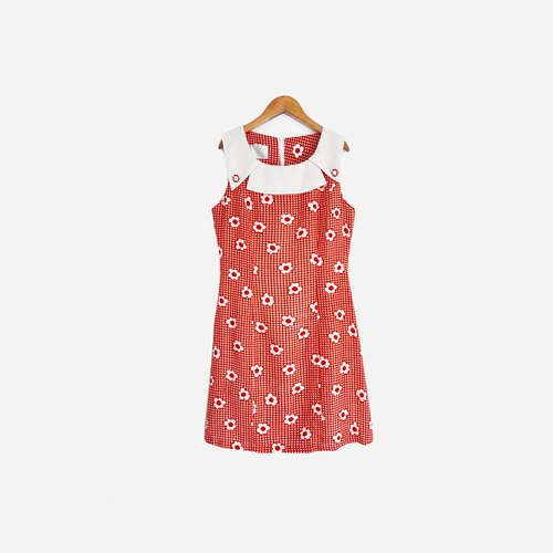 Dislocation vintage / red and white flowers sleeveless dress no.801 vintage