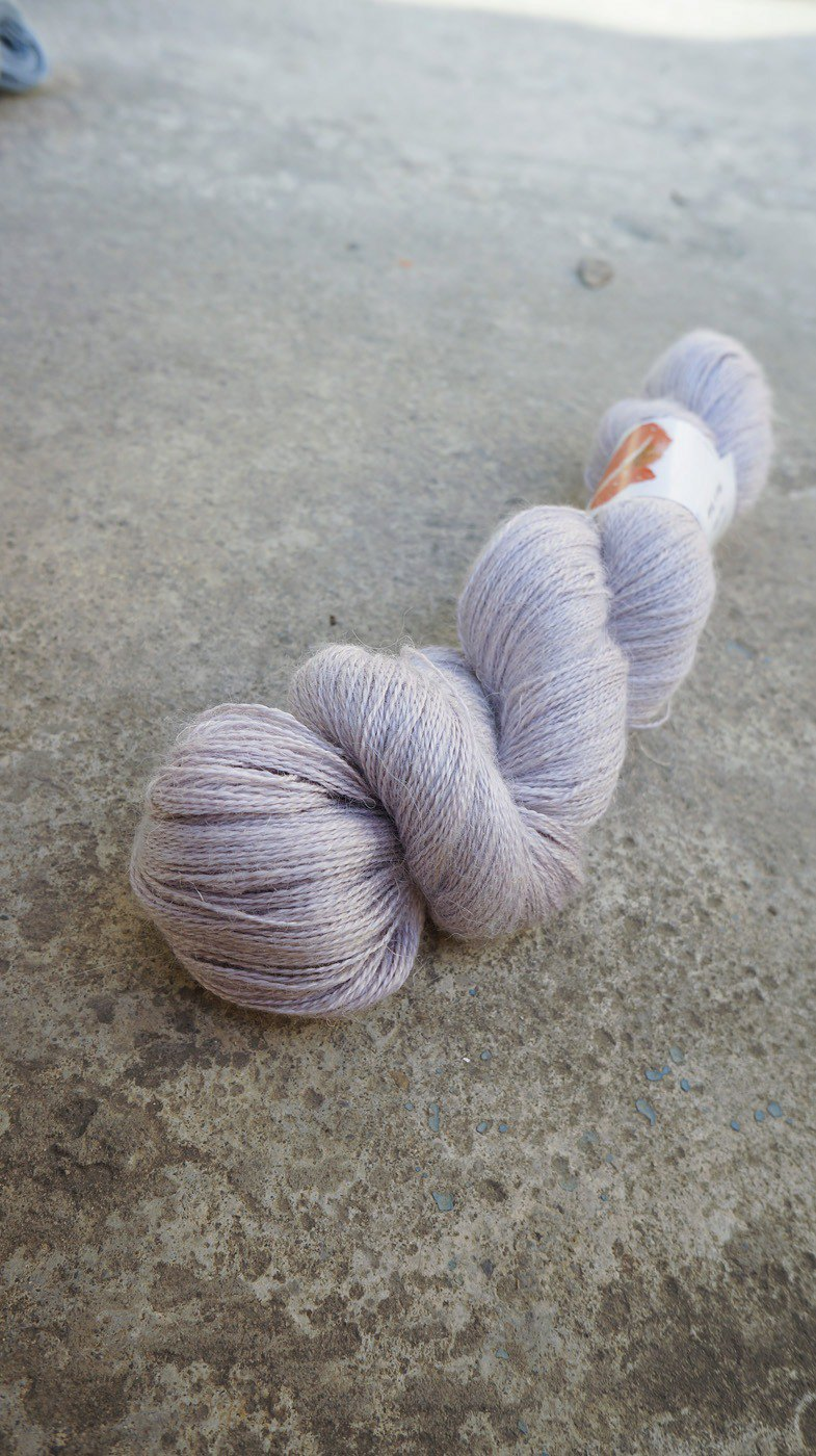 Hand dyed lace thread. Slightly Purple (Alpaca/Silk/Linen)