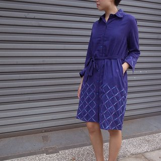 Fair Trade Embroidery Embroidered Hand woven Cotton Dress Cross_Navy