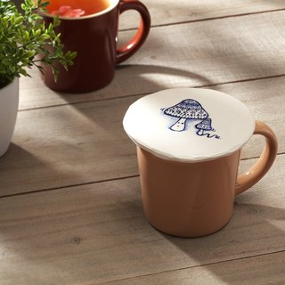 When the old mushroom meets the small mushroom - blue and white hand painted white pottery cover